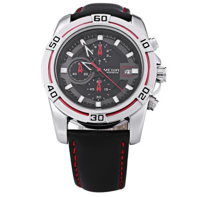 MEGIR M2023 Male Quartz WatchMens Watches<br>MEGIR M2023 Male Quartz Watch<br><br>Brand: MEGIR<br>Watches categories: Male table<br>Movement type: Quartz watch<br>Shape of the dial: Round<br>Display type: Analog<br>Case material: Alloy<br>Band material: Leather<br>Clasp type: Pin buckle<br>Water resistance : 30 meters<br>The dial thickness: 12 mm<br>The dial diameter: 45 mm<br>The band width: 22 mm<br>Wearable length: 198 mm - 240 mm<br>Product weight: 0.084 kg<br>Package weight: 0.110 kg<br>Product size (L x W x H): 27.00 x 5.00 x 1.20 cm / 10.63 x 1.97 x 0.47 inches<br>Package size (L x W x H): 28.00 x 6.00 x 2.20 cm / 11.02 x 2.36 x 0.87 inches<br>Package Contents: 1 ? MEGIR M2023 Male Quartz Watch