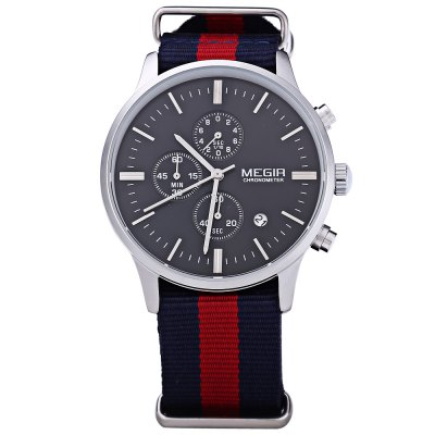 MEGIR M2011 Male Quartz WatchMens Watches<br>MEGIR M2011 Male Quartz Watch<br><br>Band material: Canvas<br>Brand: MEGIR<br>Case material: Stainless Steel<br>Clasp type: Pin buckle<br>Display type: Analog<br>Movement type: Quartz watch<br>Package Contents: 1 ? MEGIR M2011 Male Quartz Watch<br>Package size (L x W x H): 25.30 x 5.70 x 2.20 cm / 9.96 x 2.24 x 0.87 inches<br>Package weight: 0.0830 kg<br>Product size (L x W x H): 24.30 x 4.70 x 1.20 cm / 9.57 x 1.85 x 0.47 inches<br>Product weight: 0.0610 kg<br>Shape of the dial: Round<br>The band width: 18 mm<br>The dial diameter: 42 mm<br>The dial thickness: 12 mm<br>Watches categories: Male table<br>Water resistance : 30 meters<br>Wearable length: 175 mm - 220 mm