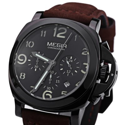 MEGIR M3406 Male Quartz WatchMens Watches<br>MEGIR M3406 Male Quartz Watch<br><br>Brand: MEGIR<br>Watches categories: Male table<br>Movement type: Quartz watch<br>Shape of the dial: Round<br>Display type: Analog<br>Case material: Stainless Steel<br>Band material: Leather<br>Clasp type: Pin buckle<br>Water resistance : 30 meters<br>The dial thickness: 15 mm<br>The dial diameter: 43 mm<br>The band width: 26 mm<br>Wearable length: 192 mm - 233 mm<br>Product weight: 0.089 kg<br>Package weight: 0.118 kg<br>Product size (L x W x H): 25.80 x 5.20 x 1.50 cm / 10.16 x 2.05 x 0.59 inches<br>Package size (L x W x H): 26.80 x 6.20 x 2.50 cm / 10.55 x 2.44 x 0.98 inches<br>Package Contents: 1 ? MEGIR M3406 Male Quartz Watch