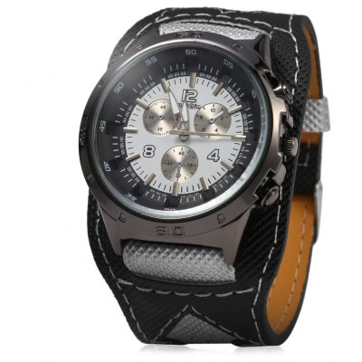 Weiqin 1048 Men Quartz Watch Canvas + Leather Strap