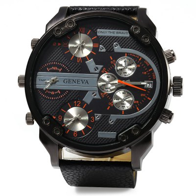Geneva 448 Multi-movt Date Function Men Quartz WatchMens Watches<br>Geneva 448 Multi-movt Date Function Men Quartz Watch<br><br>Brand: Geneva<br>Watches categories: Male table<br>Watch style: Fashion<br>Available color: Black,Blue,Orange,Red<br>Movement type: Multiple Movt<br>Shape of the dial: Round<br>Display type: Analog<br>Case material: Stainless Steel<br>Band material: Leather<br>Clasp type: Pin buckle<br>Special features: Date,Decorative sub-dial,Working sub-dial<br>Dial size: 5.5 x 5.5 x 1.5 cm / 2.17 x 2.17 x 0.59 inches<br>Band size: 27.5 x 2.6 cm / 10.83 x 1.02 inches<br>Wearable length: 21.0 - 25.0 cm / 8.27 - 9.24 inches<br>Product weight: 0.104 kg<br>Package weight: 0.220 kg<br>Product size (L x W x H): 27.50 x 6.50 x 1.50 cm / 10.83 x 2.56 x 0.59 inches<br>Package size (L x W x H): 10.00 x 7.50 x 7.00 cm / 3.94 x 2.95 x 2.76 inches<br>Package Contents: 1 x Male Watch, 1 x Watch Box