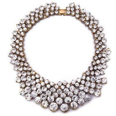 WQ044 Delicate Conjoined Rhinestone Necklace for Women
