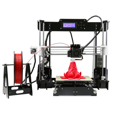 Anet A8 Desktop 3D Printer Prusa i3 DIY Kit3D Printers, 3D Printer Kits<br>Anet A8 Desktop 3D Printer Prusa i3 DIY Kit<br><br>Brand: Anet<br>Type: DIY<br>Model: A8<br>Engraving Area: 220 x 220 x 240mm<br>Frame material: Acrylic plate<br>Platform board: Aluminum Base<br>Nozzle quantity: Single<br>Nozzle diameter: 0.4mm<br>Layer thickness: 0.1-0.3mm<br>Memory card offline print: SD card<br>LCD Screen: Yes<br>Print speed: 100mm / s<br>Supporting material: ABS,Luminescent,Nylon PVA,PLA,PP,Wood<br>Material diameter: 1.75mm<br>File format: G-code,OBJ,STL<br>XY-axis positioning accuracy: 0.012mm<br>Z-axis positioning accuracy: 0.004mm<br>Voltage: 12V<br>Host computer software: Cura,Repetier-Host<br>Packing Type: unassembled packing<br>Certificate: EMC,FCC,LVD,RoHs<br>Product weight: 8.5000 kg<br>Package weight: 9.0000 kg<br>Package size: 51.00 x 34.50 x 21.50 cm / 20.08 x 13.58 x 8.46 inches<br>Packing Contents: 1 x A8 3D Desktop Acrylic LCD Screen Printer Prusa i3 DIY High Accuracy Self Assembly, 1 x Pack of Accessories
