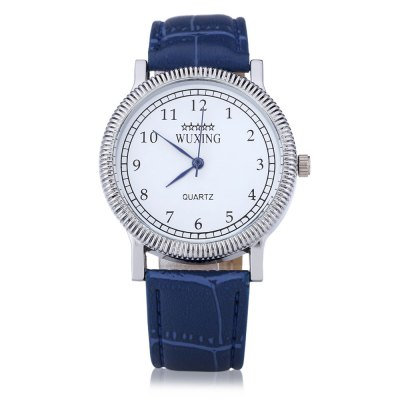 WUXING SG1271 Silver Watch Case Men Quartz Watch Leather Band
