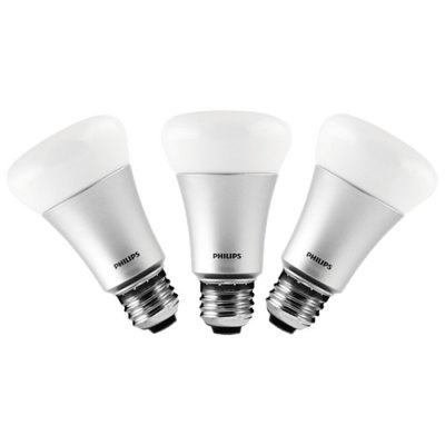 Philips Hue Wireless Control Smart LED Bulb E27 8.5WSmart Lighting<br>Philips Hue Wireless Control Smart LED Bulb E27 8.5W<br><br>Brand: Philips<br>Holder: E27<br>Output Power: 8.5W<br>Voltage (V): AC 220-240<br>Luminous Flux: 600LM<br>Available Light Color: RGB,White<br>Features: APP Control,Energy Saving,Long Life Expectancy<br>Function: Commercial Lighting,Home Lighting,Studio and Exhibition Lighting<br>Body Color: Silver<br>Lifespan: 15000h<br>Product weight: 1.000 kg<br>Package weight: 1.250 kg<br>Product size (L x W x H): 6.00 x 6.00 x 11.00 cm / 2.36 x 2.36 x 4.33 inches<br>Package size (L x W x H): 25.00 x 25.00 x 12.00 cm / 9.84 x 9.84 x 4.72 inches<br>Package Contents: 3 x Philips Hue Bulb, 1 x Bridge, 1 x Ethernet Network Cable, 1 x CN Power Adapter