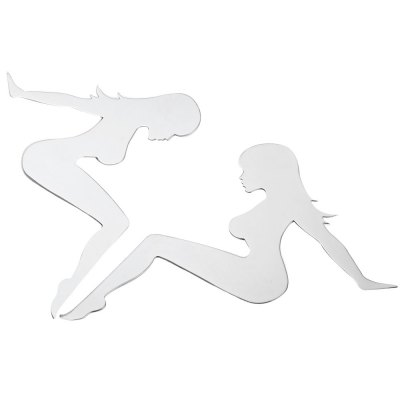 T17361 2pcs 3D Stainless Steel Car Trucker Girl Sticker