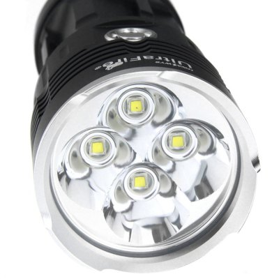 Ultrafire 2800LM 4 x CREE T6 Compact LED FlashlightLED Flashlights<br>Ultrafire 2800LM 4 x CREE T6 Compact LED Flashlight<br><br>Available Light Color: White<br>Battery Included or Not: No<br>Battery Quantity: 4 x 18650 battery (not included)<br>Battery Type: 18650<br>Beam Distance: 100-200m<br>Body Material: AL 6061-T6 Aluminium Alloy<br>Brand: Ultrafire<br>Color Temperature: 5000-6500K<br>Emitters: Cree XM-L2 T6<br>Emitters Quantity: 4<br>Feature: Water Resistant, Portable, Adjustable brightness, Lanyard, Cooling Slot of High Efficiency<br>Flashlight size: Mid size<br>Flashlight Type: Handheld,Tactical<br>Function: Household Use, Walking, Night Riding, Hiking, EDC, Camping<br>Lens: Glass Lens<br>Light color: White light<br>Light Modes: High,Mid,Strobe<br>Lumens Range: &gt;2000 Lumens<br>Luminous Flux: 2800LM<br>Max.: 2-4h<br>Mode: 3 (High; Mid; Strobe)<br>Package Contents: 1 x Ultrafire LED Flashlight, 1 x Lanyard<br>Package size (L x W x H): 15.00 x 7.00 x 7.00 cm / 5.91 x 2.76 x 2.76 inches<br>Package weight: 0.4100 kg<br>Power Source: Battery<br>Product size (L x W x H): 13.50 x 5.80 x 5.80 cm / 5.31 x 2.28 x 2.28 inches<br>Product weight: 0.3160 kg<br>Reflector: Aluminum Smooth Reflector<br>Waterproof Standard: IPX-6 Standard Waterproof