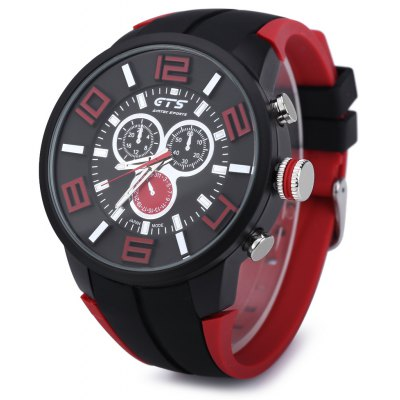 GTS 1004 Waterproof Male Japan Quartz Watch Silicone Strap