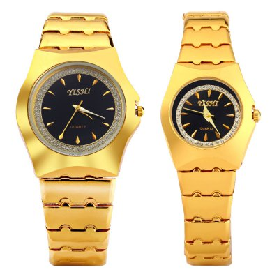 YiShi 902 Golden Diamond Quartz Watch for CoupleCouples Watches<br>YiShi 902 Golden Diamond Quartz Watch for Couple<br><br>Watches categories: Couple tables<br>Watch style: Fashion<br>Available color: Black,Gold,White<br>Shape of the dial: Round<br>Movement type: Quartz watch<br>Display type: Analog<br>Case material: Stainless Steel<br>Band material: Stainless Steel<br>Clasp type: Folding clasp with safety<br>Package weight: 0.147 kg<br>Package size (L x W x H): 11.50 x 4.80 x 2.00 cm / 4.53 x 1.89 x 0.79 inches<br>The male dial dimension (L x W x H): 3.7 x 3.7 x 0.9 cm / 1.45 x 1.45 x 0.35 inches<br>The male watch weight: 0.075 kg<br>The male watch size (L x W x H): 10.5 x 3.8 x 1.4 cm / 4.13 x 1.49 x 0.55 inches<br>The female dial dimension (L x W x H): 2.5 x 2.5 x 0.7 cm / 0.98 x 0.98 x 0.27 inches<br>The female watch weight: 0.042 kg<br>The female size (L x W x H): 9 x 2.6 x 1.2 cm / 3.54 x 1 x 0.47 inches<br>Package Contents: 1 x Man Watch, 1 x Woman Watch