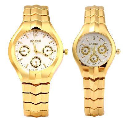 ROSRA 909 Couple Quartz Watch with Decorative Sub-dialCouples Watches<br>ROSRA 909 Couple Quartz Watch with Decorative Sub-dial<br><br>Watches categories: Couple tables<br>Watch style: Fashion<br>Available color: Gold,White<br>Shape of the dial: Round<br>Movement type: Quartz watch<br>Display type: Analog<br>Case material: Stainless Steel<br>Band material: Stainless Steel<br>Clasp type: Folding clasp with safety<br>Package weight: 0.142 kg<br>Package size (L x W x H): 10.50 x 5.00 x 4.00 cm / 4.13 x 1.97 x 1.57 inches<br>The male dial dimension (L x W x H): 3.7 x 3.7 x 0.8cm / 1.45 x 1.45 x 0.31 inches<br>The male watch weight: 0.068 kg<br>The male watch size (L x W x H): 10.5 x 4 x 1.8 cm / 4.1 x 1.57 x 0.7 inches<br>The female dial dimension (L x W x H): 2.5 x 2.5 x 0.7cm / 0.98 x 0.98 x 0.28 inches<br>The female watch weight: 0.042 kg<br>The female size (L x W x H): 8.8 x 2.7 x 1.0cm / 3.46 x 1.14 x 0.39 inches<br>Package Contents: 1 x Men Watch, 1 x Women Watch
