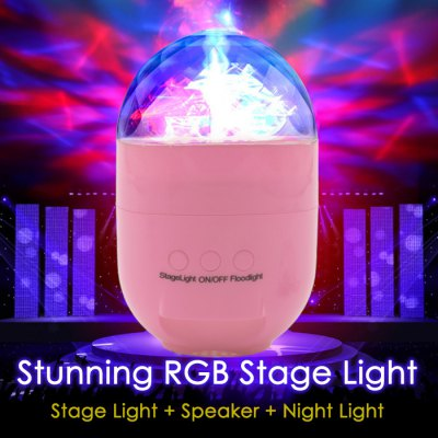 Lolong T5 RGB LED Stage Light Speaker Night LightStage Lighting<br>Lolong T5 RGB LED Stage Light Speaker Night Light<br><br>Type: DJ and Disco Light,RGB Stage Light<br>Laser Color: RGB Light<br>Voltage type: DC 5V<br>Function: For Decoration,For party<br>Body Color: Pink,White,Yellow<br>Material: Plastic<br>Product weight: 0.400 kg<br>Package weight: 0.440 kg<br>Product Size(L x W x H): 14.50 x 9.00 x 9.00 cm / 5.71 x 3.54 x 3.54 inches<br>Package size (L x W x H): 16.00 x 11.00 x 11.00 cm / 6.30 x 4.33 x 4.33 inches<br>Package Contents: 1 x RGB Stage Light