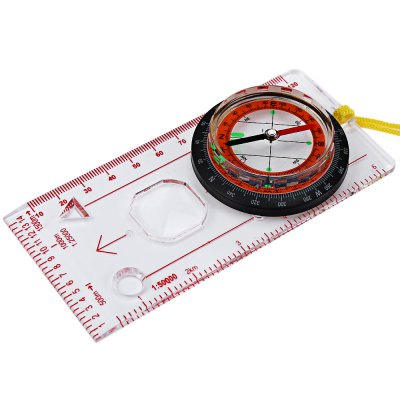 6 in 1 Multi-functional Baseplate Ruler Map Scale Compass