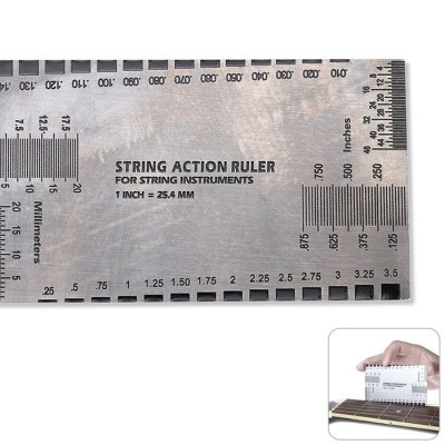 Acoustic Electric Guitar String Action Ruler Gauge Steel Luthier Tool Setup in / mm for Guitar BassViolin Parts<br>Acoustic Electric Guitar String Action Ruler Gauge Steel Luthier Tool Setup in / mm for Guitar Bass<br><br>For: Cello, Guitar, Viola, Violin<br>Material: Stainless Steel<br>Package Contents: 1 x String Action Ruler<br>Package size (L x W x H): 9.00 x 5.00 x 0.50 cm / 3.54 x 1.97 x 0.2 inches<br>Package weight: 0.104 kg