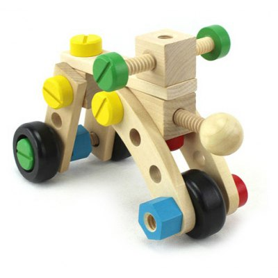 DIY Building Block Car Wooden Cartoon Changeable Nut Model Kid Toy Early Education Nice Gift