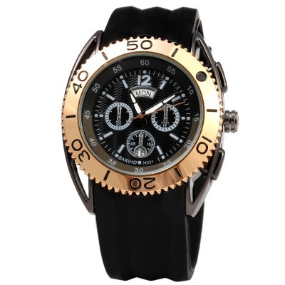 Bariho H031 Date Day Rotatable Bezel Men Quartz WatchMens Watches<br>Bariho H031 Date Day Rotatable Bezel Men Quartz Watch<br><br>Brand: Bariho<br>Watches categories: Male table<br>Watch style: Business,Casual,Fashion<br>Available color: Black,Blue,Gray,Red,Rose Gold<br>Movement type: Quartz watch<br>Shape of the dial: Round<br>Display type: Analog<br>Case material: Stainless Steel<br>Band material: Rubber<br>Clasp type: Pin buckle<br>Special features: Date,Day,Decorative sub-dial<br>Water resistance : Life water resistant<br>Dial size: 4.2 x 4.2 x 1.3 cm / 1.65 x 1.65 x 0.51 inches<br>Band size: 23.0 x 2.3 cm / 9.06 x 0.91 inches<br>Wearable length: 17.5 - 22.5 cm / 6.89 - 8.86 inches<br>Product weight: 0.082 kg<br>Package weight: 0.112 kg<br>Product size (L x W x H): 24.50 x 4.50 x 1.30 cm / 9.65 x 1.77 x 0.51 inches<br>Package size (L x W x H): 25.50 x 5.50 x 2.30 cm / 10.04 x 2.17 x 0.91 inches<br>Package Contents: 1 x Bariho Male Watch