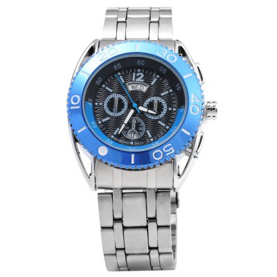 Bariho H031 Date Day Rotatable Bezel Men Quartz WatchMens Watches<br>Bariho H031 Date Day Rotatable Bezel Men Quartz Watch<br><br>Brand: Bariho<br>Watches categories: Male table<br>Watch style: Business,Casual,Fashion<br>Available color: Black,Blue,Gold,Rose Gold<br>Movement type: Quartz watch<br>Shape of the dial: Round<br>Display type: Analog<br>Case material: Stainless Steel<br>Band material: Stainless Steel<br>Clasp type: Folding clasp with safety<br>Special features: Date,Day,Decorative sub-dial<br>Water resistance : Life water resistant<br>Dial size: 4.2 x 4.2 x 1.3 cm / 1.65 x 1.65 x 0.51 inches<br>Band size: 23.0 x 2.3 cm / 9.06 x 0.91 inches<br>Product weight: 0.147 kg<br>Package weight: 0.177 kg<br>Product size (L x W x H): 23.00 x 4.70 x 1.30 cm / 9.06 x 1.85 x 0.51 inches<br>Package size (L x W x H): 12.50 x 5.70 x 3.00 cm / 4.92 x 2.24 x 1.18 inches<br>Package Contents: 1 x Bariho Male Watch