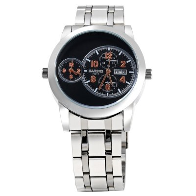 Bariho H211 Date Day Display Dual Movt Men Quartz WatchMens Watches<br>Bariho H211 Date Day Display Dual Movt Men Quartz Watch<br><br>Brand: Bariho<br>Watches categories: Male table<br>Watch style: Casual,Fashion<br>Available color: Black,Orange,White,Yellow<br>Movement type: Double-movtz<br>Shape of the dial: Round<br>Display type: Analog<br>Case material: Stainless Steel<br>Band material: Stainless Steel<br>Clasp type: Folding clasp with safety<br>Special features: Date,Day,Decorative sub-dial,Working sub-dial<br>Water resistance : Life water resistant<br>Dial size: 4.5 x 4.5 x 1.4 cm / 1.77 x 1.77 x 0.55 inches<br>Band size: 23.0 x 2.3 cm / 9.06 x 0.91 inches<br>Product weight: 0.139 kg<br>Package weight: 0.169 kg<br>Product size (L x W x H): 11.50 x 5.00 x 1.40 cm / 4.53 x 1.97 x 0.55 inches<br>Package size (L x W x H): 12.50 x 6.00 x 2.40 cm / 4.92 x 2.36 x 0.94 inches<br>Package Contents: 1 x Bariho Male Watch