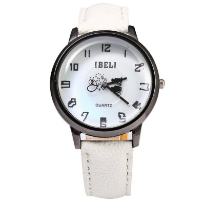 IBELI 808 Lover Pattern Second Dial Female Quartz Watch Leather Band