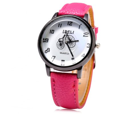 IBELI 805 Bicycle Second Dial Female Quartz Watch Leather Band