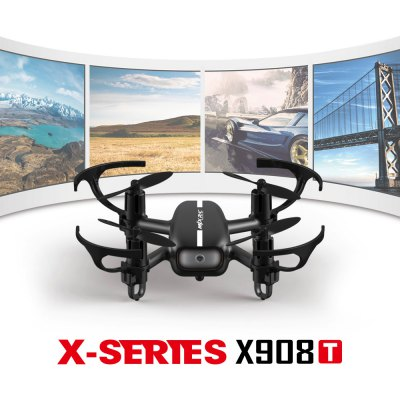 MJX X908T 5.8G FPV 720P Camera 2.4G 4CH 6 Axis Gyro Quadcopter Headless Mode with LightRC Quadcopters<br>MJX X908T 5.8G FPV 720P Camera 2.4G 4CH 6 Axis Gyro Quadcopter Headless Mode with Light<br><br>Type: Quadcopter<br>Features: 5.8G FPV<br>Functions: 3D rollover,Camera,Forward/backward,FPV,Headless Mode,Hover,One Key Automatic Return,Sideward flight,Trim,Turn left/right,Up/down,With light<br>Built-in Gyro: 6 Axis Gyro<br>Night Flight: Yes<br>Material: Electronic Components,Plastic<br>Level: Intermediate Level<br>Remote Control: 2.4GHz Wireless Remote Control<br>Channel: 4-Channels<br>Control Distance: 50-100m<br>Detailed Control Distance: 50m<br>Transmitter Power: 3 x AAA battery(not included)<br>Model Power: Rechargeable Battery<br>Battery: 3.7V380mAh<br>Flying Time: 5~6mins<br>Charging Time (h): About 120mins<br>Camera Pixels: 720P<br>Package weight: 0.400 kg<br>Product size (L x W x H): 12.80 x 12.80 x 4.10 cm / 5.04 x 5.04 x 1.61 inches<br>Package size (L x W x H): 30.00 x 15.00 x 20.00 cm / 11.81 x 5.91 x 7.87 inches<br>Package Contents: 1 x Quadcopter, 1 x Transmitter, 1 x Battery, 1 x USB Cable, 1 x English Manual