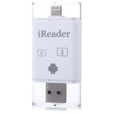 3 in 1 8 Pin Interface to Micro USB Card Reader Support Both TF Card SD Card