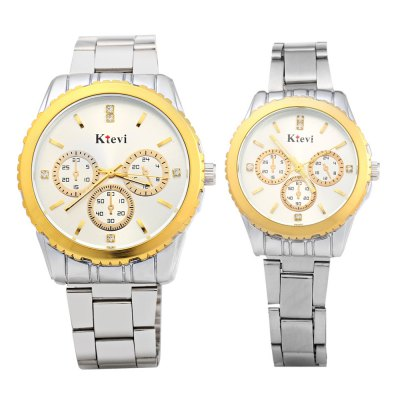 Ktevi K8001 Decorative Sub-dial Couple Japan Quartz WatchCouples Watches<br>Ktevi K8001 Decorative Sub-dial Couple Japan Quartz Watch<br><br>Brand: Ktevi<br>Watches categories: Couple tables<br>Watch style: Fashion<br>Available color: Black,White<br>Shape of the dial: Round<br>Movement type: Quartz watch<br>Display type: Analog<br>Case material: Stainless Steel<br>Band material: Stainless Steel<br>Clasp type: Folding clasp with safety<br>Water resistance : Life water resistant<br>Special features: Decorative sub-dial<br>Package weight: 0.168 kg<br>Package size (L x W x H): 11.50 x 8.80 x 2.50 cm / 4.53 x 3.46 x 0.98 inches<br>The male dial dimension (L x W x H): 4.0 x 4.0 x 1.0 cm / 1.57 x 1.57 x 0.39 inches<br>The male watch band dimension (L x W): 21.0 x 1.8 cm / 8.27 x 0.71 inches<br>The male watch weight: 0.088 kg<br>The male watch size (L x W x H): 21.0 x 4.3 x 1.0 cm / 8.27 x 1.69 x 0.39 inches<br>The female dial dimension (L x W x H): 3.0 x 3.0 x 0.9 cm / 1.18 x 1.18 x 0.35 inches<br>The female watch band dimension (L x W): 20.0 x 1.2 cm / 7.87 x 0.47 inches<br>The female watch weight: 0.05 kg<br>The female size (L x W x H): 20.0 x 3.3 x 0.9 cm / 7.87 x 1.30 x 0.47 inches<br>Package Contents: 2 x Japan Quartz Watch