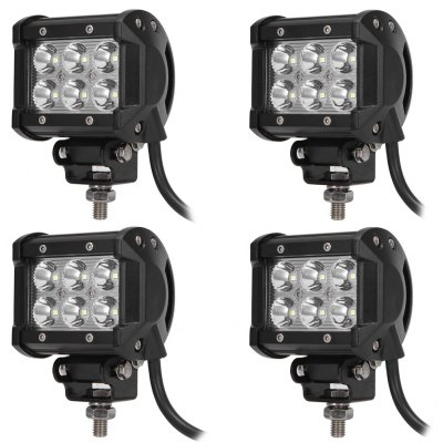 4PCS DC 9 - 30V 18W 1800lm 6500K LED Car Top Spot Work Light