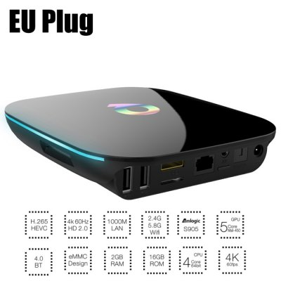 Sunvell Q-Streaming TV Android 5.1 Smart Box 1000M LANTV Box<br>Sunvell Q-Streaming TV Android 5.1 Smart Box 1000M LAN<br><br>5G WiFi: Yes<br>Audio format: WMA, RM, OGG, MP3, FLAC, AAC<br>Bluetooth: Bluetooth4.0<br>Brand: Sunvell<br>Certificate: CE,FCC<br>Color: Black<br>Core: 2.0GHz<br>CPU: Amlogic S905<br>Decoder Format: H.265<br>External Subtitle Supported: Yes<br>GPU: Mali-450<br>HDMI Version: 2.0<br>Interface: OTG, USB2.0, TF card, HDMI, DC Power Port<br>Maximum External Hard Drives Capacity: 1TB<br>Other Functions: External Subtitle<br>Package Contents: 1 x Sunvell Q-BOX TV Box, 1 x Power Adapter, 1 x HDMI Cable, 1 x Remote Control, 1 x English Manual<br>Package size (L x W x H): 22.00 x 14.00 x 6.00 cm / 8.66 x 5.51 x 2.36 inches<br>Package weight: 0.5230 kg<br>Power Supply: Charge Adapter<br>Power Type: External Power Adapter Mode<br>Product size (L x W x H): 13.00 x 13.00 x 25.00 cm / 5.12 x 5.12 x 9.84 inches<br>Product weight: 0.3790 kg<br>RAM: 2G RAM<br>RAM Type: DDR3<br>ROM: 16G ROM<br>Support 5.1 Surround Sound Output: Yes<br>Support XBMC: Yes<br>System: Android 5.1<br>System Bit: 64Bit<br>TV Box Features: 5.1 Surround Sound Output,XBMC<br>Type: TV Box<br>Video format: 4K<br>WIFI: 802.11 a/b/g/n