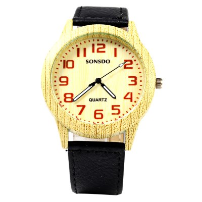 SONSDO 6635 Unisex Quartz Wristwatch Wood StyleUnisex Watches<br>SONSDO 6635 Unisex Quartz Wristwatch Wood Style<br><br>Brand: SONSDO<br>People: Female table,Male table<br>Watch style: Fashion<br>Watch color: Black, Brown, White<br>Shape of the dial: Round<br>Movement type: Quartz watch<br>Display type: Analog<br>Case material: Stainless Steel<br>Band material: Leather<br>Clasp type: Pin buckle<br>Water resistance : Life water resistant<br>Dial size: 4.0 x 4.0 x 1.0 cm / 1.57 x 1.57 x 0.39 inches<br>Band size: 24.0 x 2.0 cm / 9.45 x 0.79 inches<br>Wearable length: 18.0 - 22.0 cm / 7.09 - 8.66 inches<br>Product weight: 0.035 kg<br>Package weight: 0.065 kg<br>Product size (L x W x H): 24.00 x 4.30 x 1.00 cm / 9.45 x 1.69 x 0.39 inches<br>Package size (L x W x H): 25.00 x 5.30 x 2.00 cm / 9.84 x 2.09 x 0.79 inches<br>Package Contents: 1 x SONSDO 6635 Watch