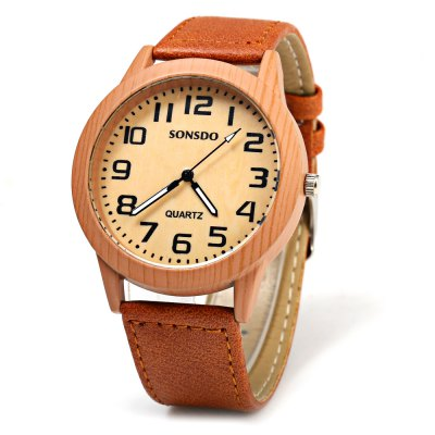 SONSDO 6635 Unisex Quartz Wristwatch Wood Style