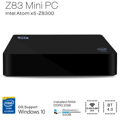 Beelink Z83 TV Box Intel Atom X5-Z8300 Quad CoreTV Box &amp; Mini PC<br>Beelink Z83 TV Box Intel Atom X5-Z8300 Quad Core<br><br>Brand: Beelink<br>Model: Z83<br>Type: TV Box<br>GPU: Intel HD Graphic<br>System: Windows 10<br>CPU: Intel Atom Cherry Trail x5-Z8300<br>Core: 1.84GHz<br>RAM: 2G<br>ROM: 32G<br>Max. Extended Capacity: 128G<br>Color: Black<br>Video format: 1080P,4K<br>Support XBMC: Yes<br>Support 5G WiFi: Yes<br>WIFI: 802.11 a/b/g/n<br>Bluetooth: Bluetooth4.0<br>Power Supply: Charge Adapter<br>Interface: HDMI,Microphone Jack,SD Card Slot,USB2.0,USB3.0<br>Antenna: Yes<br>Certificate: CE<br>System Bit: 64Bit<br>Power Type: External Power Adapter Mode<br>Product weight: 0.450 kg<br>Package weight: 0.620 kg<br>Product size (L x W x H): 11.95 x 11.95 x 2.40 cm / 4.7 x 4.7 x 0.94 inches<br>Package size (L x W x H): 13.00 x 12.10 x 8.65 cm / 5.12 x 4.76 x 3.41 inches<br>Package Contents: 1 x Z83 TV Box, 1 x Power Adapter, 1 x HDMI Cable, 1 x Bracket, 4 x Screw, 1 x English User Manual