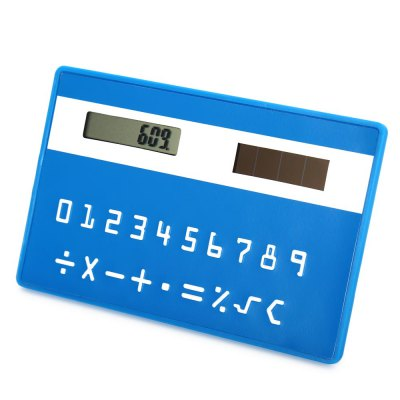 1PC Colorful Pocket Solar Power CalculatorCalculators<br>1PC Colorful Pocket Solar Power Calculator<br><br>Color: Black,Blue,Green,Pink,Purple,Red,Rose<br>Features: Slim Card Design<br>Material: Plastic<br>Multi-Function: Calculator<br>Package Contents: 1 x Colorful Pocket Solar Power Calculator<br>Package size (L x W x H): 9.50 x 6.50 x 1.20 cm / 3.74 x 2.56 x 0.47 inches<br>Package weight: 0.0360 kg<br>Powerd By: Solar Power<br>Product size (L x W x H): 8.50 x 5.50 x 0.20 cm / 3.35 x 2.17 x 0.08 inches<br>Product weight: 0.0120 kg<br>Type: Touch, Pocket