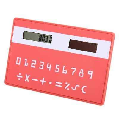 1PC Colorful Pocket Solar Power CalculatorCalculators<br>1PC Colorful Pocket Solar Power Calculator<br><br>Color: Black,Blue,Green,Pink,Purple,Red,Rose<br>Features: Slim Card Design<br>Material: Plastic<br>Multi-Function: Calculator<br>Package Contents: 1 x Colorful Pocket Solar Power Calculator<br>Package size (L x W x H): 9.50 x 6.50 x 1.20 cm / 3.74 x 2.56 x 0.47 inches<br>Package weight: 0.036 kg<br>Powerd By: Solar Power<br>Product size (L x W x H): 8.50 x 5.50 x 0.20 cm / 3.35 x 2.17 x 0.08 inches<br>Product weight: 0.012 kg<br>Type: Touch, Pocket