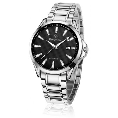 Compadre 8001 Men Automatic Mechanical Watch Date Stainless Band