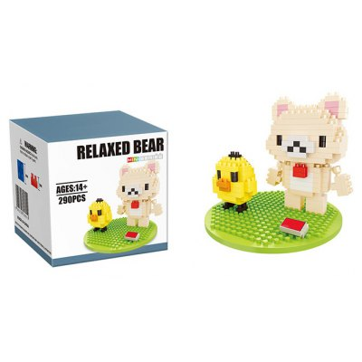 290Pcs Bear and Chicken Style Building Block Educational Decoration Toy for Spatial Thinking