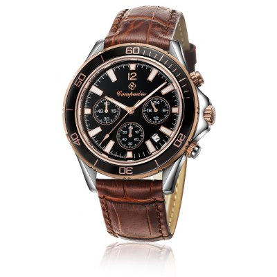 Compadre 9001 Men Quartz Watch Date Decorative Sub-dials Leather Band