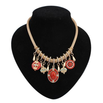 A1-419 Retro Rhinestone Female Necklace with Rope Chain