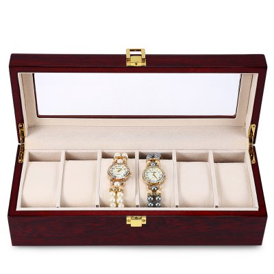 6 Slots Wood Watch Display CaseWatch Accessories<br>6 Slots Wood Watch Display Case<br><br>Type: Box/case<br>Material: Wood<br>Product weight: 0.984 kg<br>Package weight: 1.411 kg<br>Product size (L x W x H): 31.00 x 12.00 x 8.50 cm / 12.2 x 4.72 x 3.35 inches<br>Package size (L x W x H): 34.00 x 15.50 x 11.50 cm / 13.39 x 6.1 x 4.53 inches<br>Package Contents: 1 x 6 Slots Wood Watch Display Case Box Glass Top Jewelry Storage Organizer