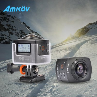 AMKOV AMK100S with Waterproof Case 360 Degree Omni-directional Imaging 1440P WiFi Action Camera
