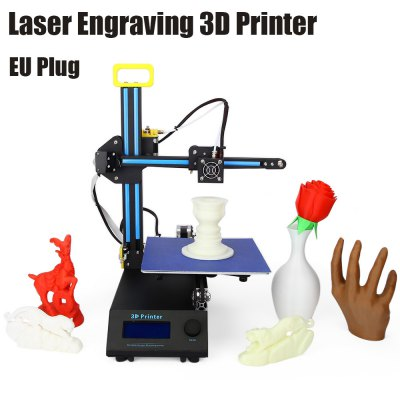 Creality3D CR - 8 2 in 1 Laser Engraving 3D Printer3D Printers, 3D Printer Kits<br>Creality3D CR - 8 2 in 1 Laser Engraving 3D Printer<br><br>Brand: Creality<br>File format: STL, OBJ, G-code<br>Host computer software: Cura,Repetier-Host<br>Layer thickness: 0.1-0.4mm<br>LCD Screen: Yes<br>Material diameter: 1.75mm<br>Memory card offline print: TF card<br>Model: CR - 8<br>Model supporting function: Yes<br>Nozzle diameter: 0.4mm<br>Nozzle temperature: Room temperature to 250 degree<br>Package size: 42.00 x 50.00 x 22.00 cm / 16.54 x 19.69 x 8.66 inches<br>Package weight: 9.4200 kg<br>Packing Type: unassembled packing<br>Print speed: Less than or Equal to 150mm/s; Max. up to 250mm/s<br>Product forming size: 210 x 210 x 210mm<br>Product size: 38.00 x 43.00 x 49.50 cm / 14.96 x 16.93 x 19.49 inches<br>Product weight: 6.0000 kg<br>Supporting material: PLA, ABS<br>Type: Complete Machine<br>XY-axis positioning accuracy: 0.012mm