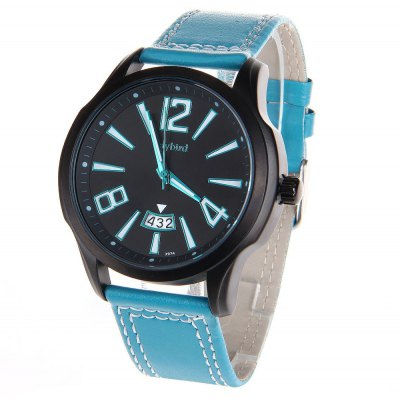 Daybird 3974 Men Quartz Watch Date Display Leather Band