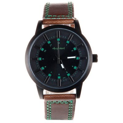 Daybird 3970 Men Quartz Watch Leather Strap Colorful Numbers