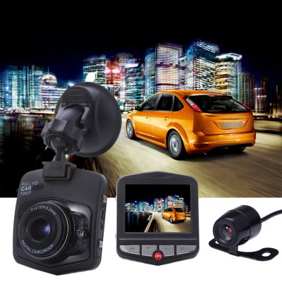 GT300+ Dual Lens 1080P FHD 170 Degree Wide Angle Car DVRCar DVR<br>GT300+ Dual Lens 1080P FHD 170 Degree Wide Angle Car DVR<br><br>Audio System: Built-in microphone/speacker (AAC)<br>Battery Type: Built-in<br>Charge way: Car charger<br>Chipset: Generalplus1248<br>Chipset Name: Generalplus<br>Class Rating Requirements: Class 6 or Above<br>Exposure Compensation: +1,+2,+3,-1,-2,-3,0<br>Function: Loop-cycle Recording, HDMI output, Night Vision, G-sensor, Motion Detection, Time Stamp<br>G-sensor: Yes<br>HDMI Output: Yes<br>Image Format : JPEG<br>Image resolution: 1M (1280?720), 8M (3264 x 2448), 5M (2592 x 1944), 2M (1920 x 1080)<br>Interface Type: Mini USB, AV-in, TF Card Slot, Mini HDMI<br>Language: English,French,Italian,Japanese,Korean,Portuguese,Russian,Simplified Chinese,Spanish,Traditional Chinese<br>Loop-cycle Recording : Yes<br>Loop-cycle Recording Time: 2min,3min,5min<br>Max External Card Supported: TF 16G (not included)<br>Model: GT300+<br>Motion Detection: Yes<br>Night vision : Yes<br>Package Contents: 1 x Car DVR, 1 x Rear Camera, 1 x Car Charger, 1 x Suction Cup Bracket, 1 x Adhesive Sticker, 2 x Screw, 1 x Chinese / English Instruction<br>Package size (L x W x H): 17.00 x 12.00 x 12.50 cm / 6.69 x 4.72 x 4.92 inches<br>Package weight: 0.4080 kg<br>Product size (L x W x H): 7.20 x 5.90 x 1.50 cm / 2.83 x 2.32 x 0.59 inches<br>Product weight: 0.0520 kg<br>Screen size: 2.3inch<br>Screen type: LCD<br>Time Stamp: Yes<br>Type: Full HD Dashcam<br>Video format: AVI<br>Video Output : HDMI<br>Video Resolution: 1080P (1920 x 1080)<br>White Balance Mode: Auto, Cloudy, Tungsten, Sunny, Incandescent