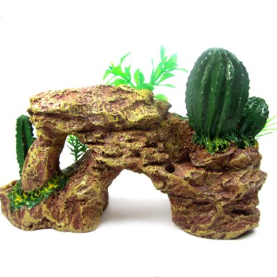 Simulation Rockery with Cactus Fish Tank Decors