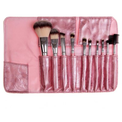 10PCS Synthetic Hair Makeup Brushes with Leather Storage Bag C