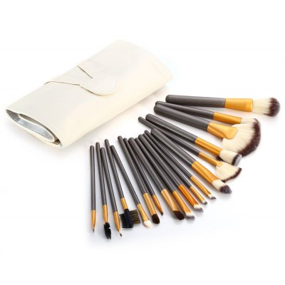18PCS Synthetic Hair Makeup Brushes with Leather Storage Bag