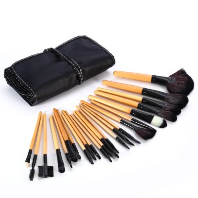 24PCS Synthetic Hair Burlywood Makeup Brushes with PU Storage Bag
