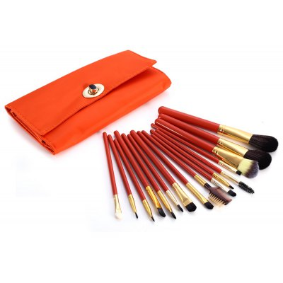 16PCS Synthetic Hair Makeup Brushes with Orange PU Storage Bag