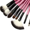best 11PCS Synthetic Hair Makeup Brushes with Leather Storage Bag