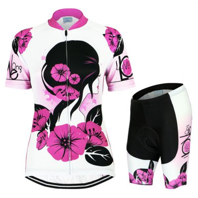 Arsuxeo ZSS33 Women Printed Cycling Short Sleeve Suit